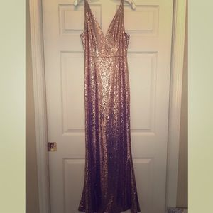 Aakaa Rose Gold Sequin Gown